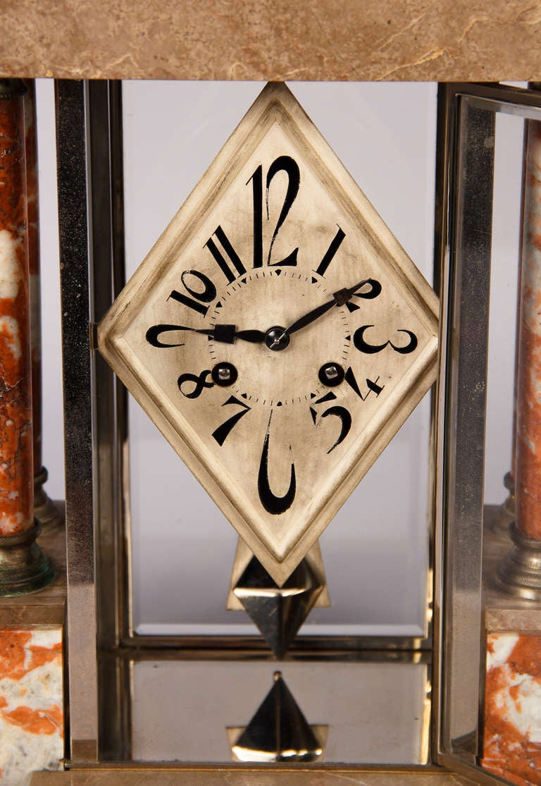 French Art Deco Marble Mantel Clock, 1930s For Sale 3