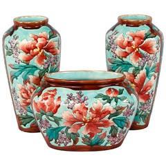 Longchamp French Ceramic Three-Vase Garniture, Early 1900s
