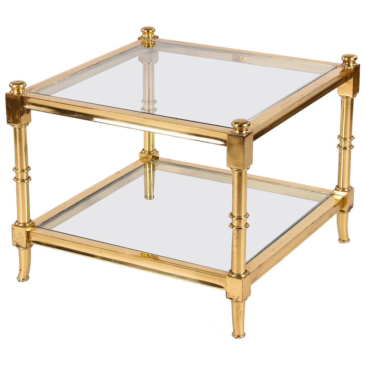 1960s Maison Jansen Style Brass Side Table