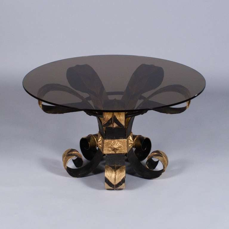French 1960s Forged Iron Coffee Table with Glass Top 3