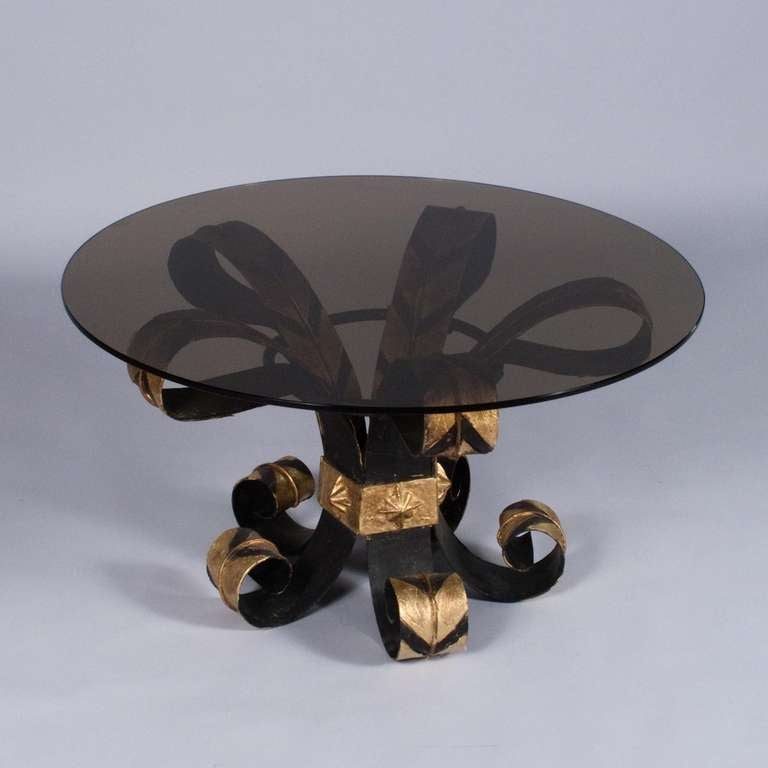 French 1960s Forged Iron Coffee Table with Glass Top 2