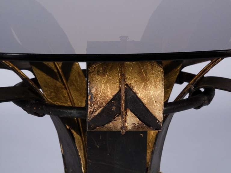 French 1960s Forged Iron Coffee Table with Glass Top 6
