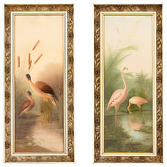 Pair of French 1920s Frames with Herons and Flamingos