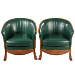 Pair of 1950s Leather Armchairs by Rosello of Paris