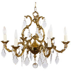 French Louis XV Style Gilded Bronze Chandelier, 1940s