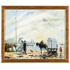 Early 1900's French Seaside Painting