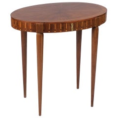 Fancy French Art Deco Oval Side Table
