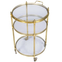 French Vintage Round Brass Bar Cart