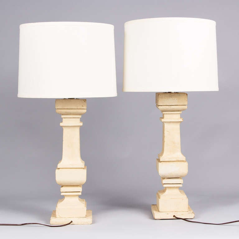 pair of painted european wooden lamps 20th century for sale at 1stdibs. Black Bedroom Furniture Sets. Home Design Ideas