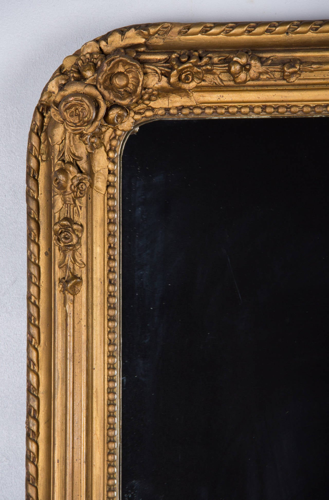 French Napoleon III Period Gilded Mirror, 1870s In Good Condition In Austin, TX