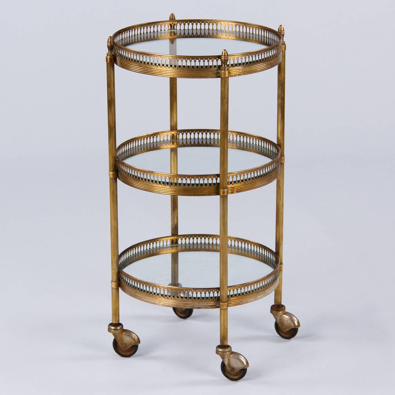 French Mid-Century Round Brass Three-Tier Bar Cart or Side Table 3 - French Mid-Century Round Brass Three-Tier Bar Cart Or Side Table