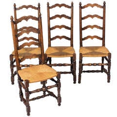 Set of Four French Country Style Rush Chairs