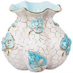 1950s Italian White and Aqua Blue Ceramic Vase by Deruta