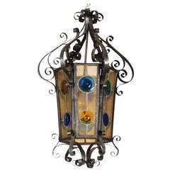 Napoleon III Stained Glass & Iron Lantern