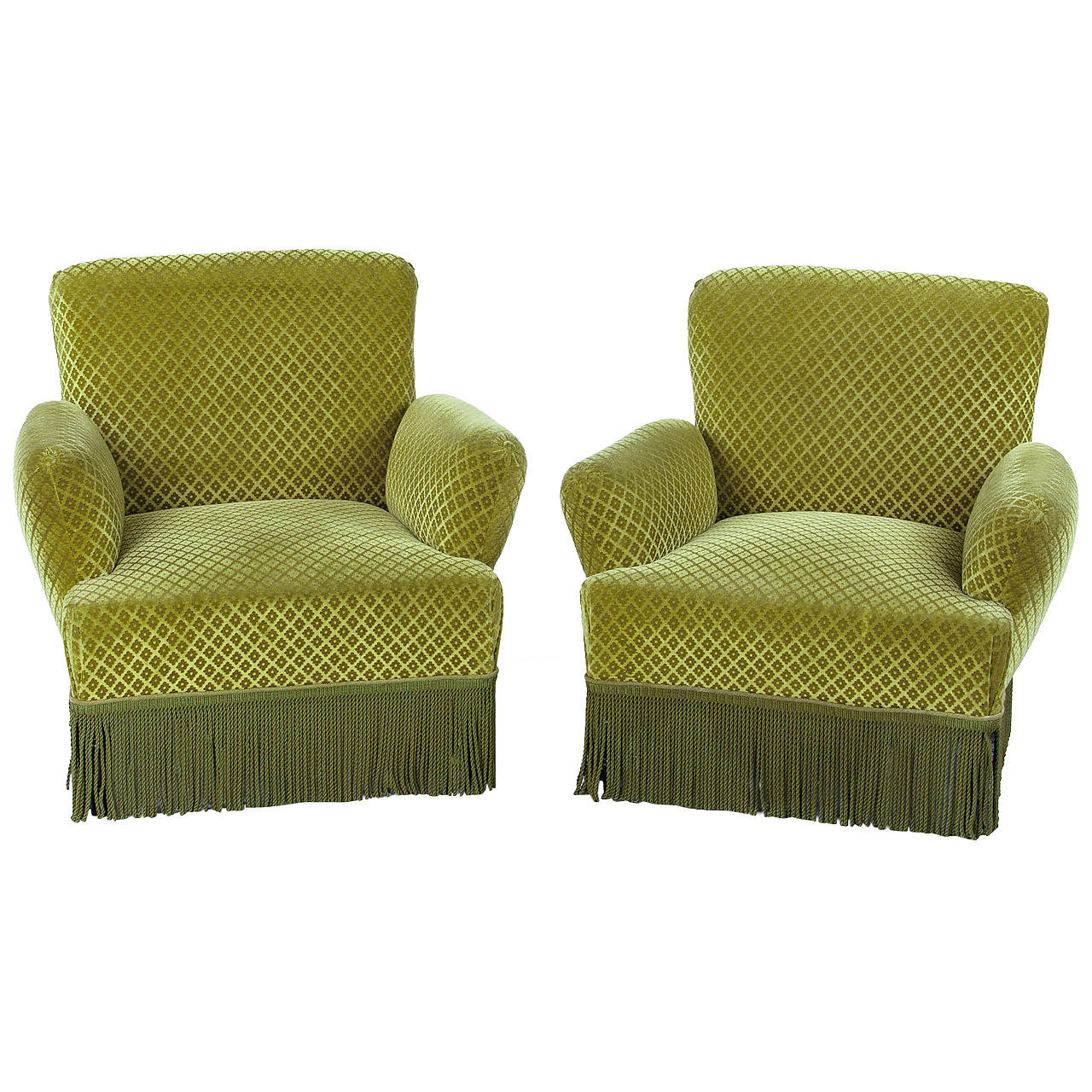 Pair of Napoleon III Style Green Upholstered Armchairs, 1940s
