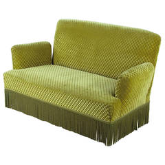 French 1940s Green Upholstered Sofa