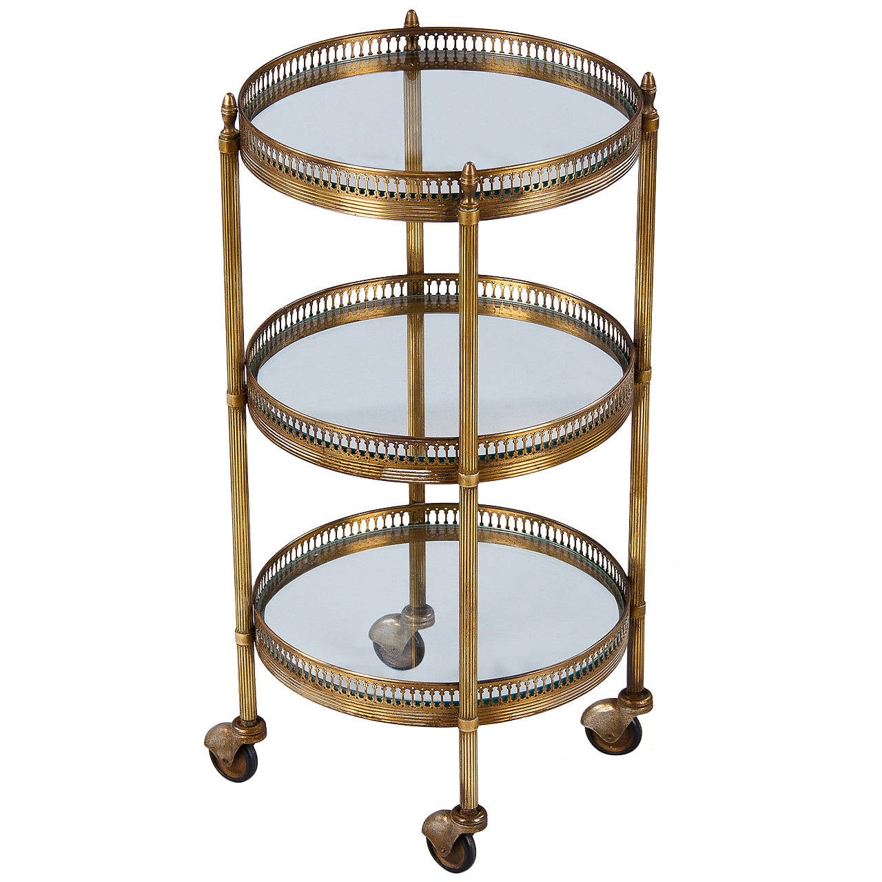French mid century round brass three tier bar cart or side for Mid century bistro table