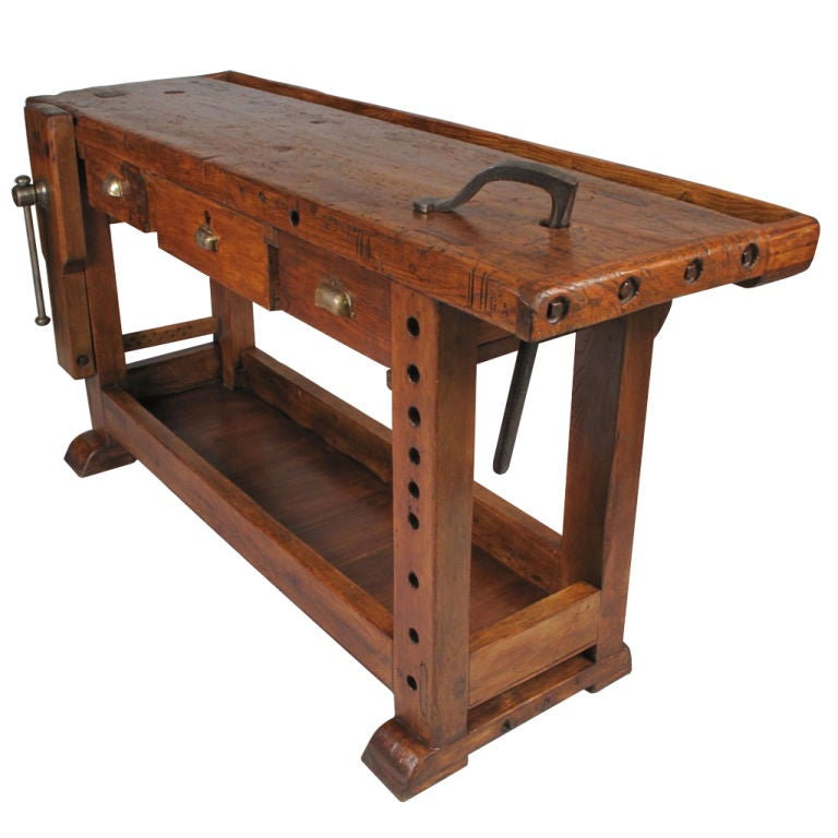 French country style carpenter 39 s workbench at 1stdibs for Furniture work table