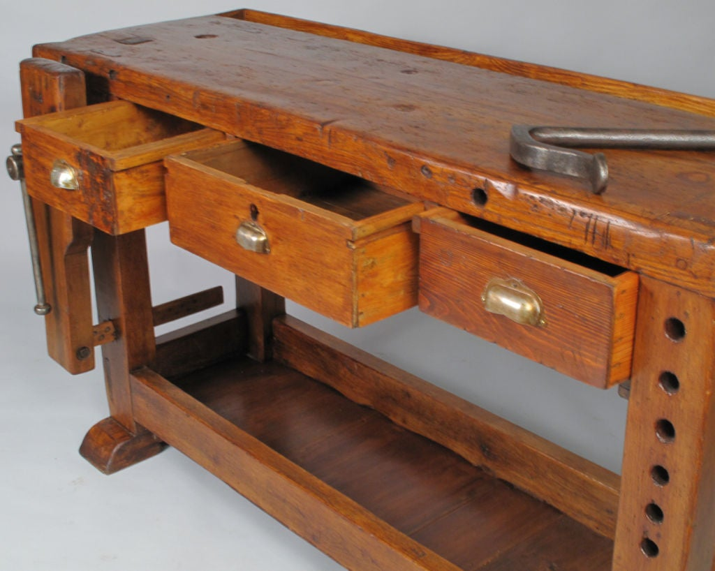 French Country Style Carpenter S Workbench At 1stdibs