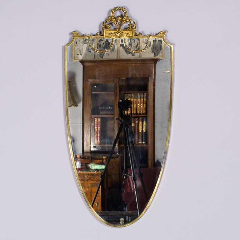 French Louis XVI Style Shield Shape Brass Mirror, 20th Century 2