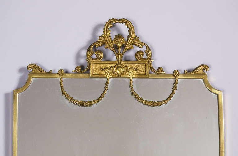 French Louis XVI Style Shield Shape Brass Mirror, 20th Century 3