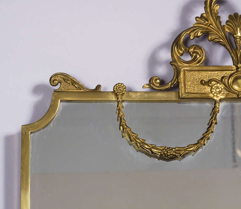 French Louis XVI Style Shield Shape Brass Mirror, 20th Century 4