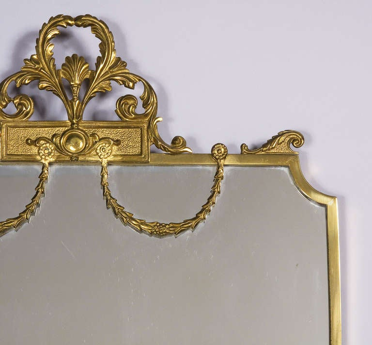 French Louis XVI Style Shield Shape Brass Mirror, 20th Century 5