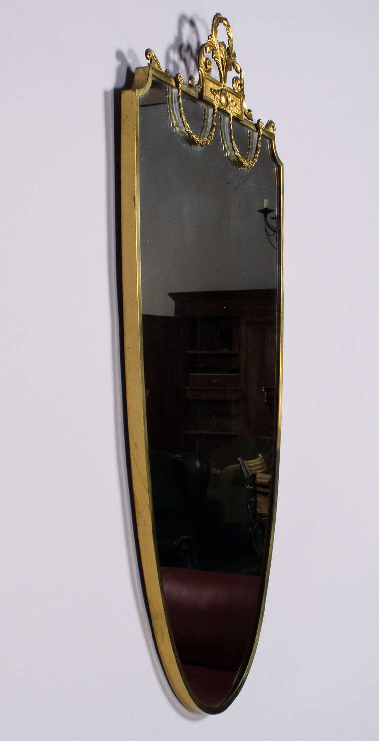 French Louis XVI Style Shield Shape Brass Mirror, 20th Century 6
