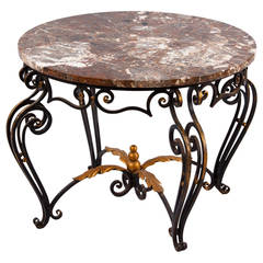 French Art Deco Iron and Marble Coffee Table by Robert Merceris, 1940s