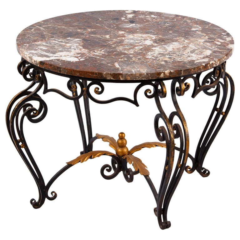 French Art Deco Iron and Marble Coffee Table by Robert Merceris, 1940s For Sale