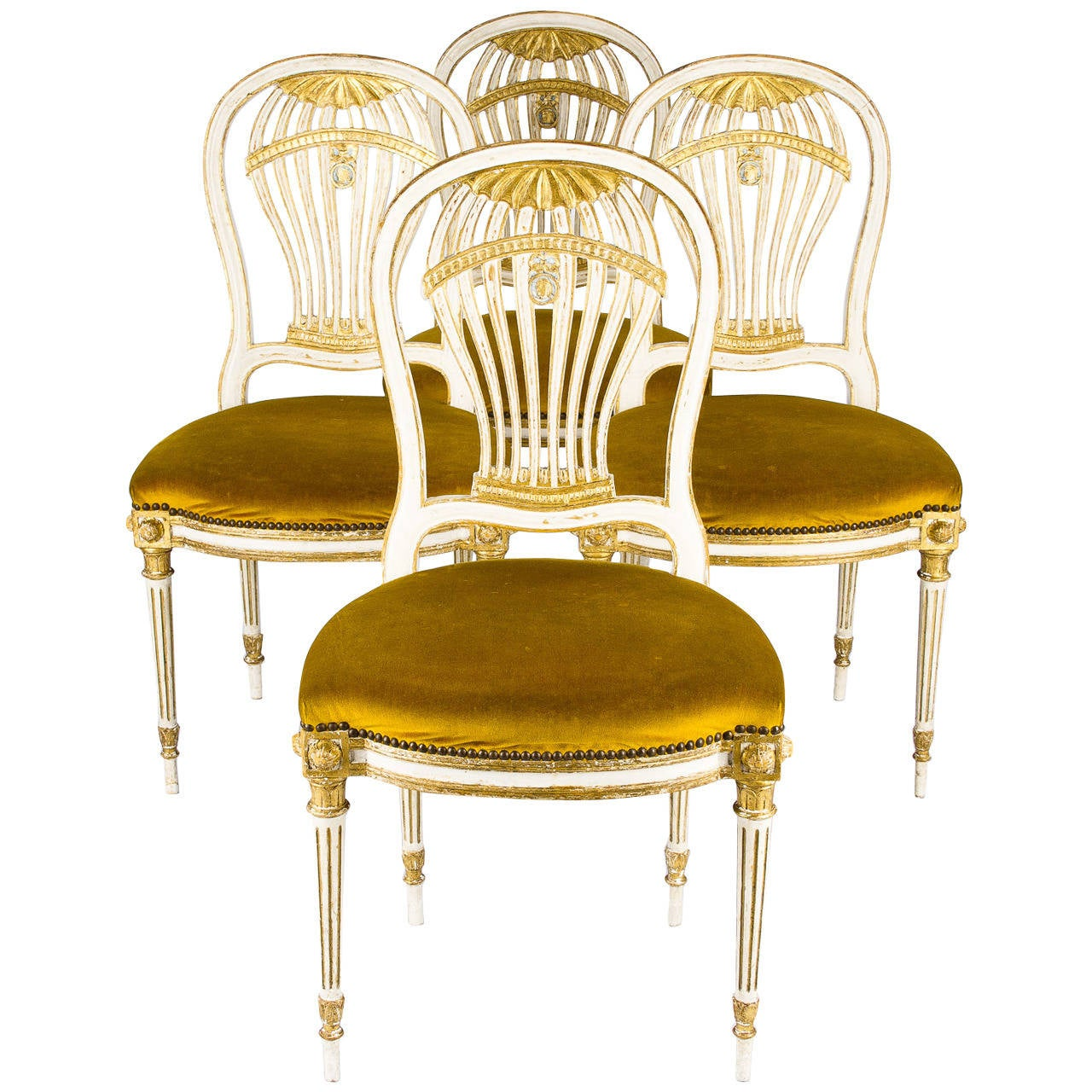 Set of 4 french louis xvi style montgolfiere chairs