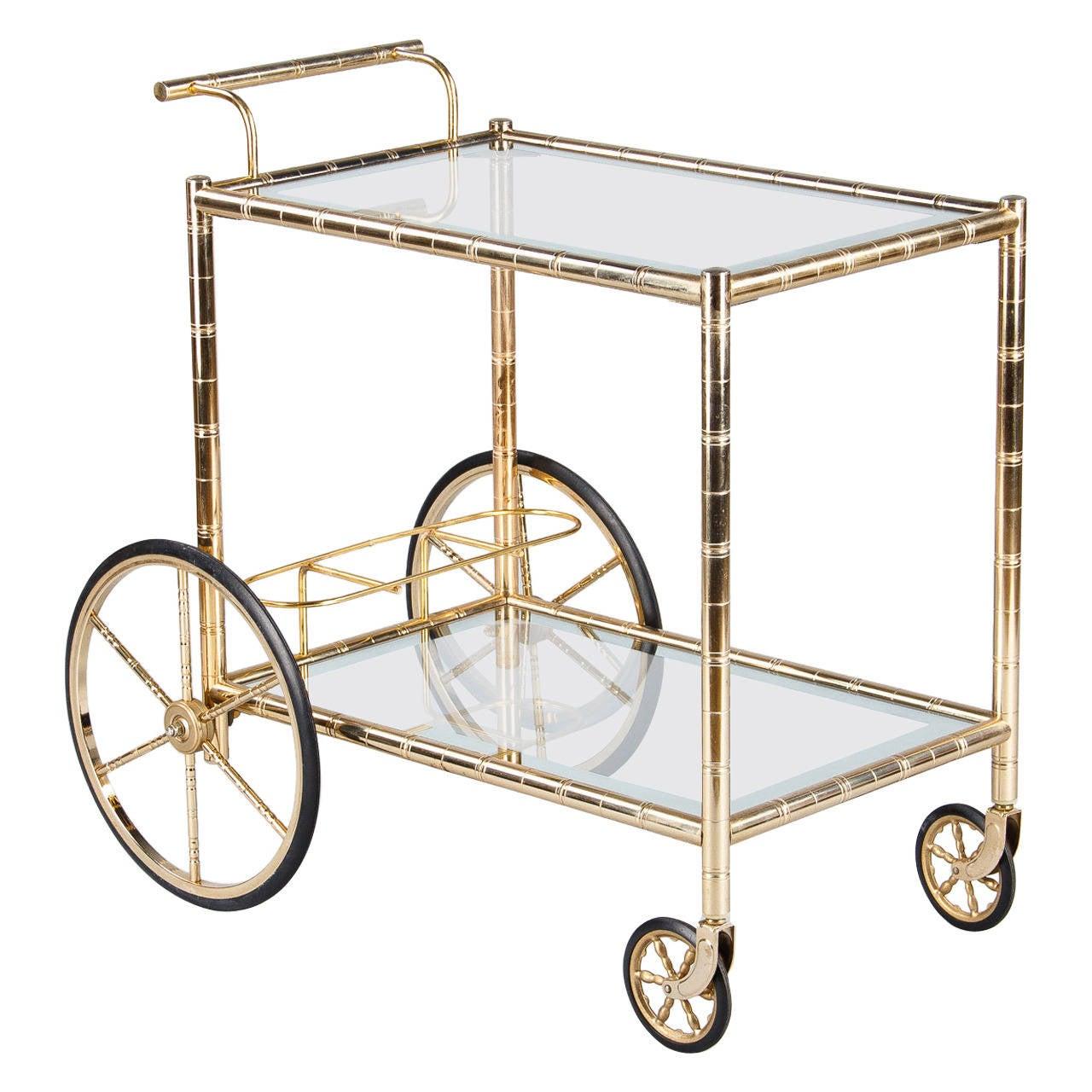 1960s vintage french brass bar cart at 1stdibs. Black Bedroom Furniture Sets. Home Design Ideas