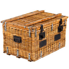 1920s French Wicker Travel Trunk