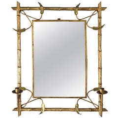 Mid-Century Gilded Metal Spanish Mirror with Candleholders