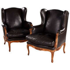 Pair of Large Italian Leather Bergere Armchairs