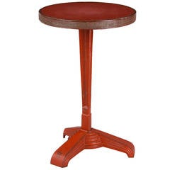 French Art Deco Bistro Table with Red Opaline Top, 1930s