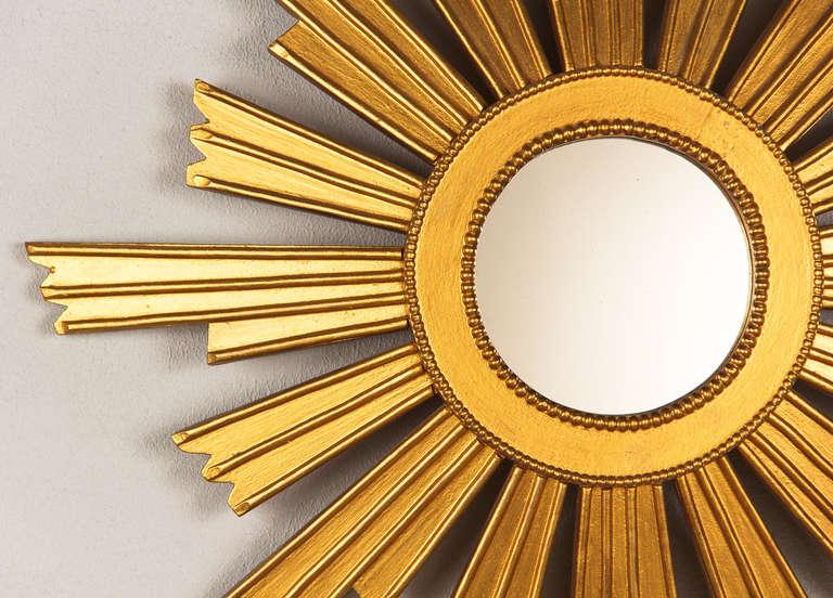 Mid-Century Modern French Vintage Giltwood Sunburst Mirror, 1950s For Sale