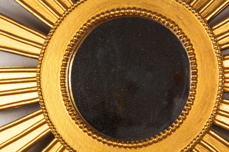 French Vintage Giltwood Sunburst Mirror, 1950s For Sale 1