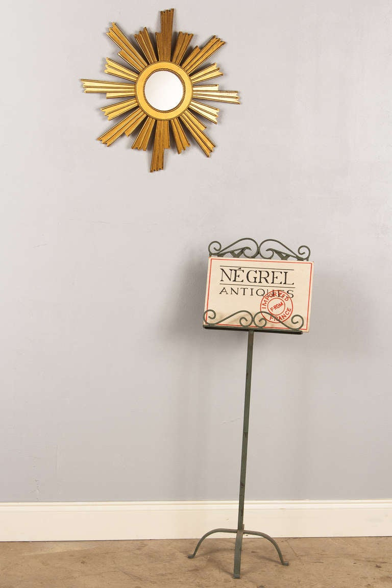 Mid-20th Century French Vintage Giltwood Sunburst Mirror, 1950s For Sale