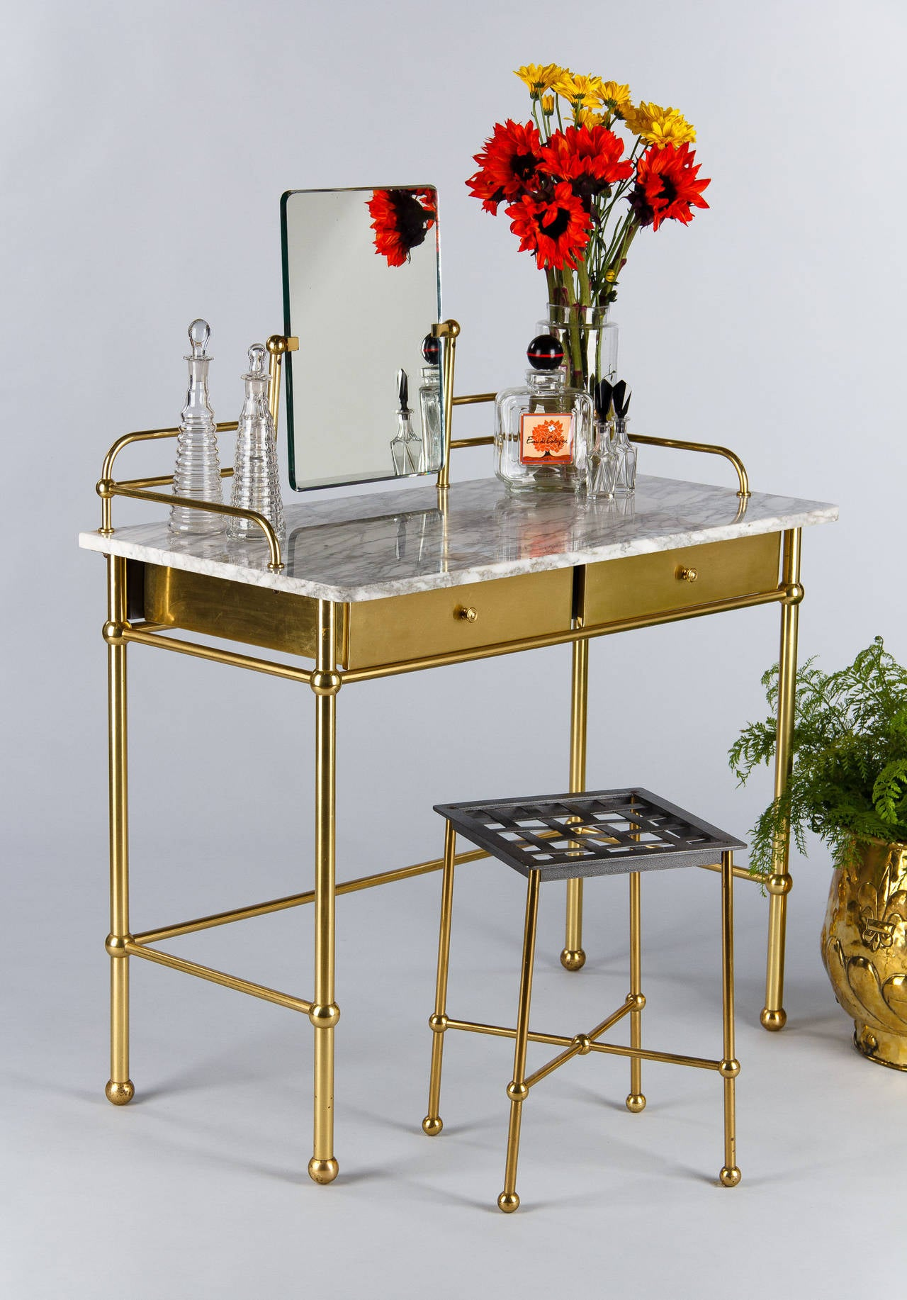 Mirrored Vanity Table And Stool: Vintage French Brass And Marble Vanity Table With Stool By