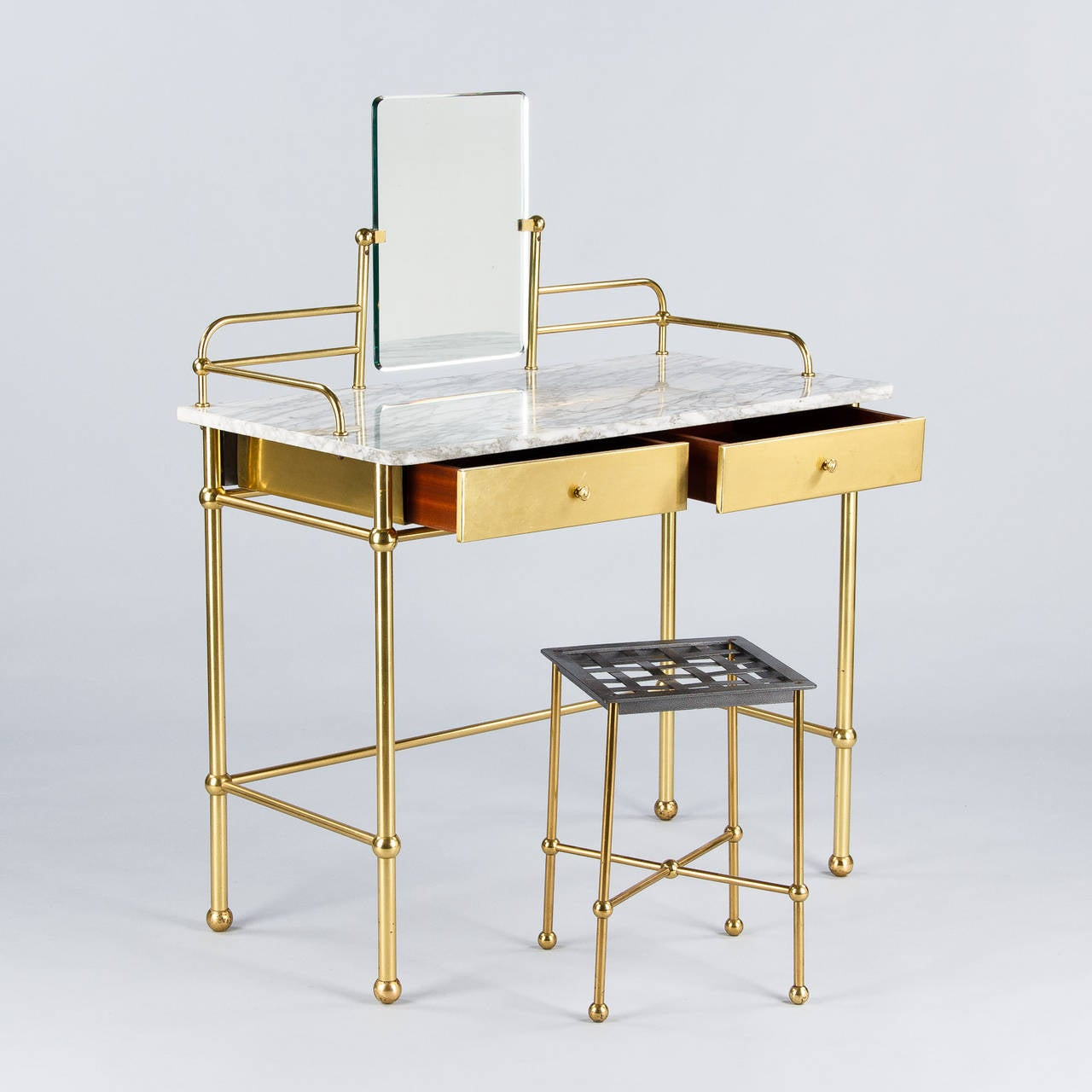 Vintage french brass and marble vanity table with stool by resistub 1960s at 1stdibs - Stool for vanity table ...