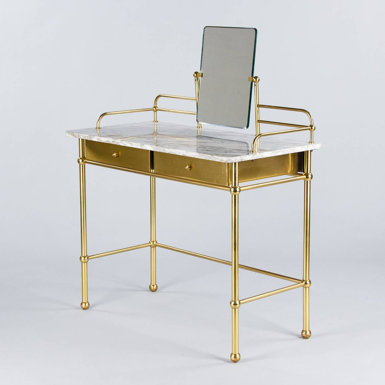 Vintage French Brass And Marble Vanity Table With Stool By