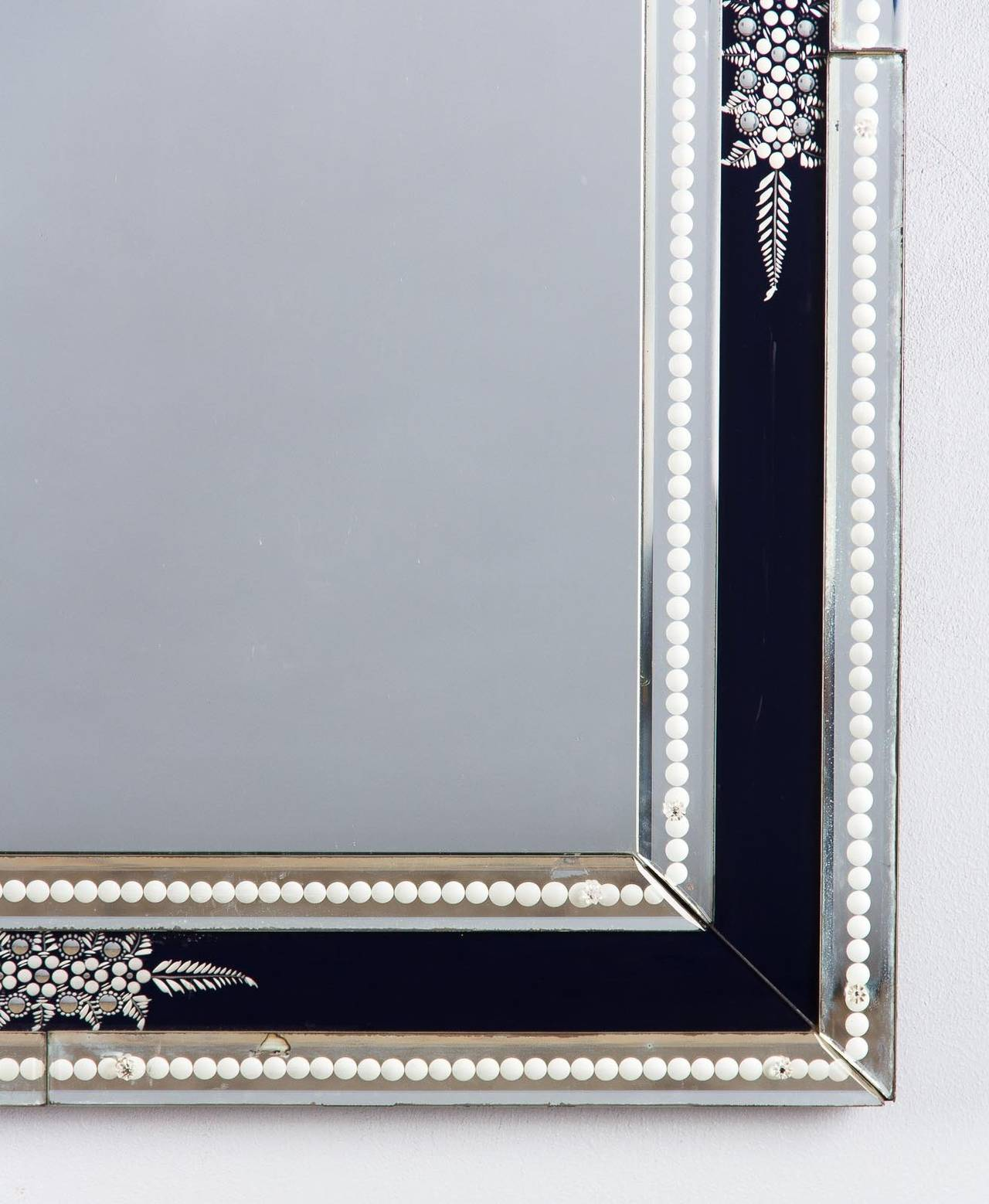 1960s venetian glass mirror with black accents for sale at for Black venetian mirror