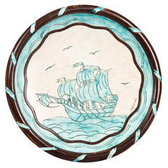 Terracotta Dish with Sailboat by Jerome Massier Vallauris