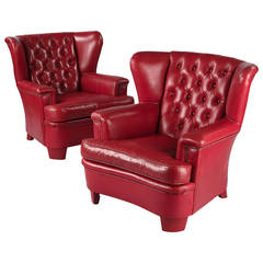 Pair of French Vintage Red Leather Wing Armchairs, 1960s