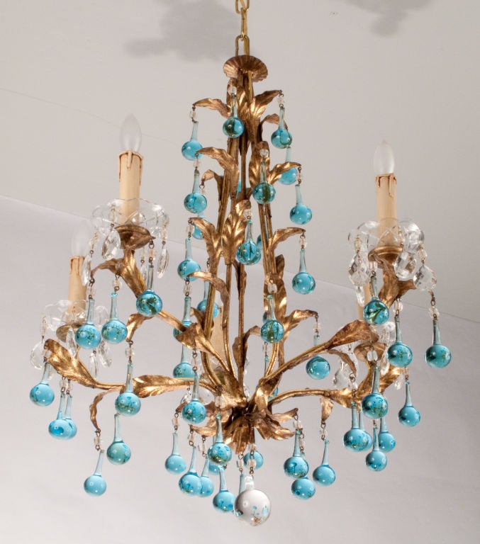 Mid-Century Tear Drop Crystal Chandelier image 3
