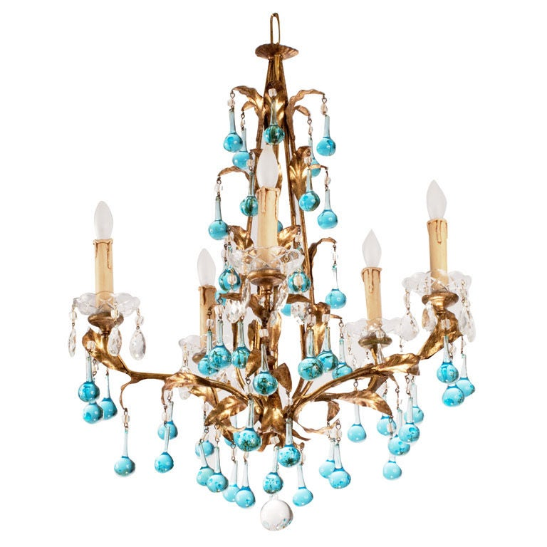 Mid-Century Tear Drop Crystal Chandelier
