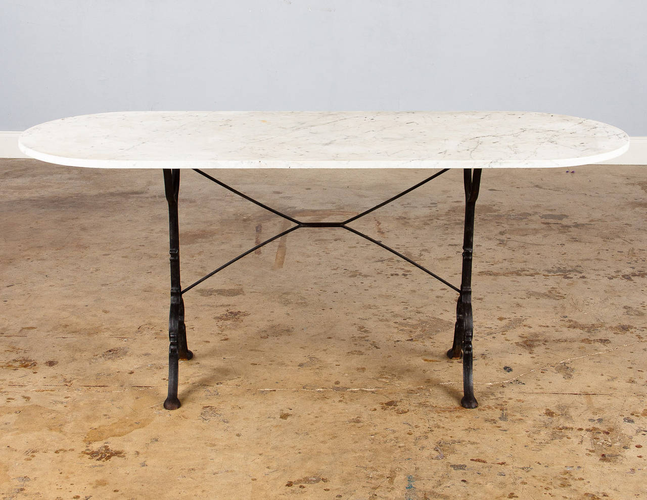 French Bistro Table With Oval White Marble Top 1920s At