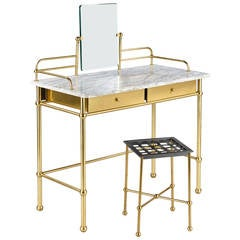 Vintage French Brass and Marble Vanity Table with Stool by Resistub, 1960s
