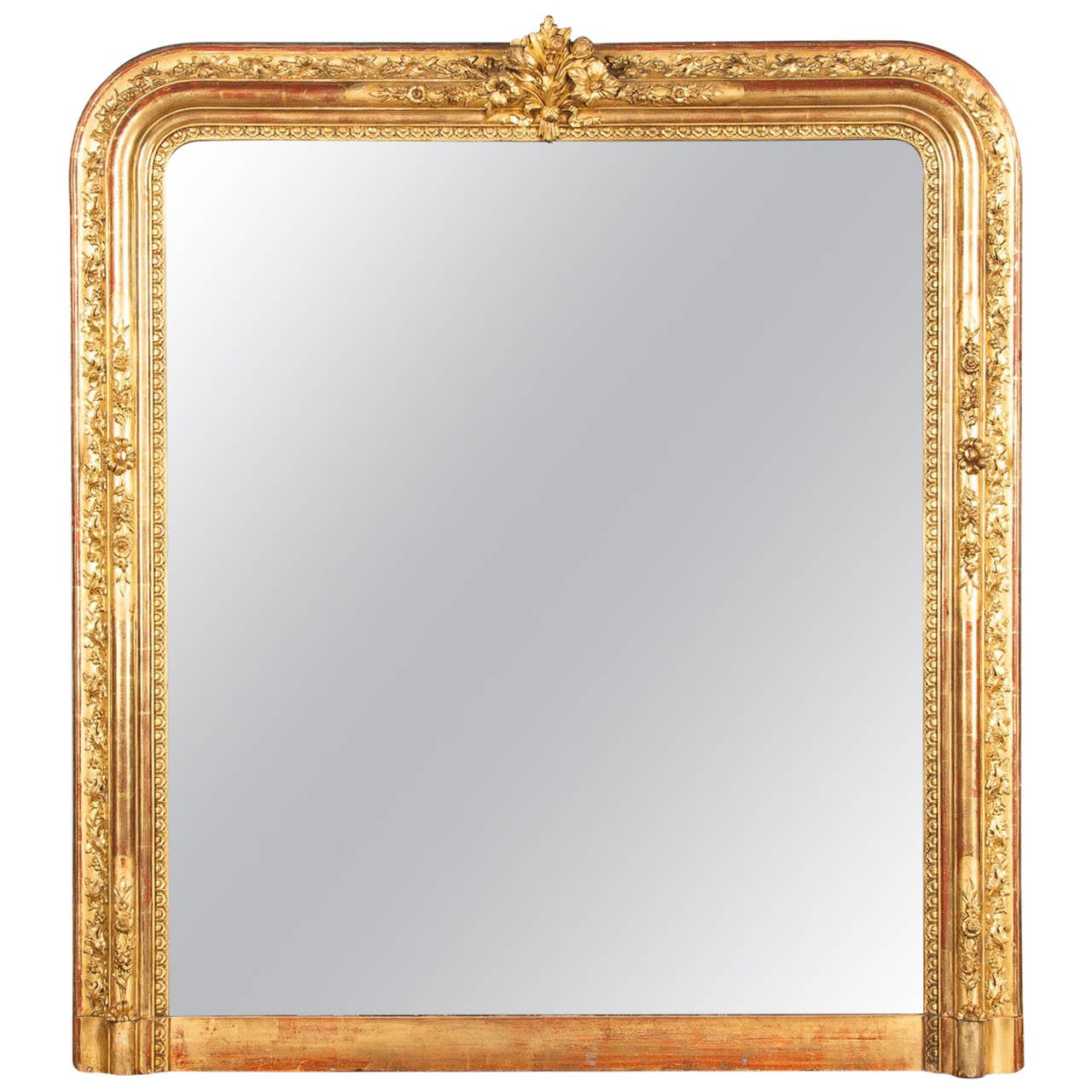 French Napoleon III Gold Leaf Mantel Mirror, 1870s